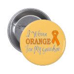 I Wear Orange For My Grandson (Orange Ribbon) Pinback Buttons