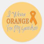 I Wear Orange For My Grandson (Orange Ribbon) Round Sticker