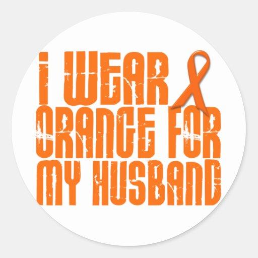 I Wear Orange For My Husband 16 Classic Round Sticker