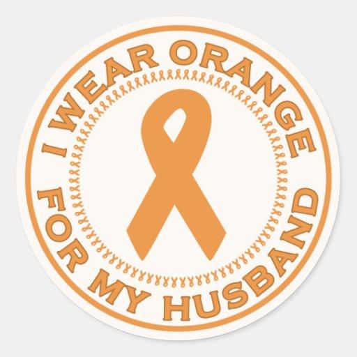 I Wear Orange For My Husband Classic Round Sticker