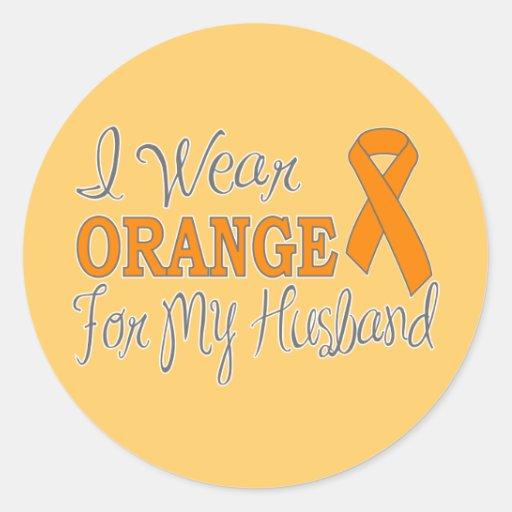 I Wear Orange For My Husband (Orange Ribbon) Classic Round Sticker