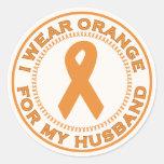 I Wear Orange For My Husband Round Stickers