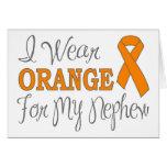I Wear Orange For My Nephew (Orange Ribbon) Greeting Card