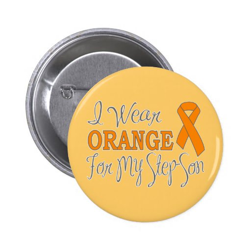 I Wear Orange For My Step-Son (Orange Ribbon) Pinback Buttons