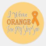 I Wear Orange For My Step-Son (Orange Ribbon) Stickers