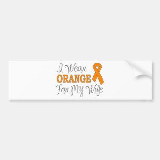 I Wear Orange For My Wife (Orange Ribbon) Bumper Stickers