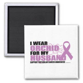 I Wear Orchid For My Husband 2 Inch Square Magnet
