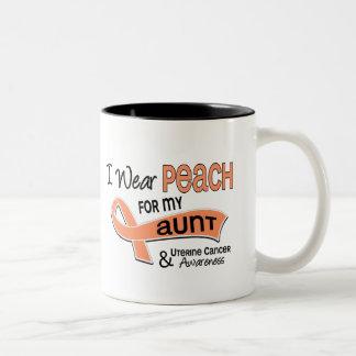 I Wear Peach 42 Aunt Uterine Cancer Two-Tone Coffee Mug
