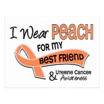 I Wear Peach 42 Best Friend Uterine Cancer Postcard