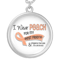 I Wear Peach 42 Best Friend Uterine Cancer Silver Plated Necklace