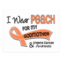 I Wear Peach 42 Godmother Uterine Cancer Postcard