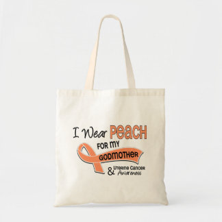 I Wear Peach 42 Godmother Uterine Cancer Tote Bag