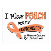 I Wear Peach 42 Granddaughter Uterine Cancer Postcard