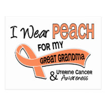 I Wear Peach 42 Great Grandma Uterine Cancer Postcard