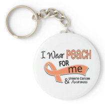 I Wear Peach 42 Me Uterine Cancer Keychain