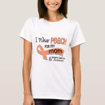 I Wear Peach 42 Mom Uterine Cancer T-Shirt
