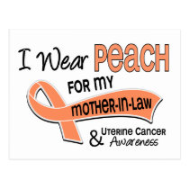 I Wear Peach 42 Mother-In-Law Uterine Cancer Postcard