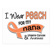 I Wear Peach 42 Nana Uterine Cancer Postcard