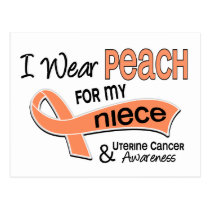 I Wear Peach 42 Niece Uterine Cancer Postcard