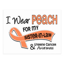 I Wear Peach 42 Sister-In-Law Uterine Cancer Postcard