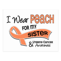 I Wear Peach 42 Sister Uterine Cancer Postcard