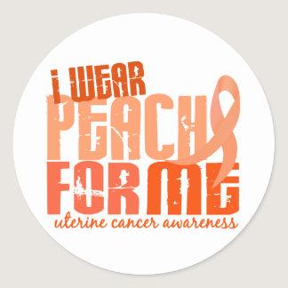 I Wear Peach For Me 6.4 Uterine Cancer Classic Round Sticker
