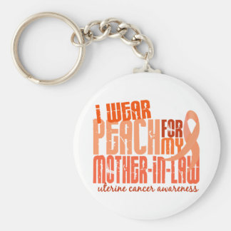 I Wear Peach For Mother-In-Law 6.4 Uterine Cancer Basic Round Button Keychain