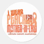 I Wear Peach For Mother-In-Law 6.4 Uterine Cancer Round Sticker
