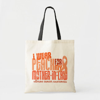 I Wear Peach For Mother-In-Law 6.4 Uterine Cancer Tote Bag