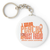 I Wear Peach For My Best Friend 6.4 Uterine Cancer Keychain
