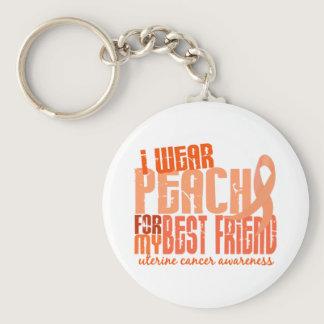 I Wear Peach For My Best Friend 6.4 Uterine Cancer Keychain