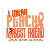 I Wear Peach For My Best Friend 6.4 Uterine Cancer Postcard