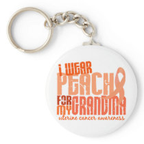 I Wear Peach For My Grandma 6.4 Uterine Cancer Keychain