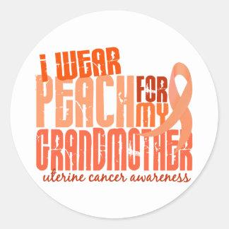 I Wear Peach For My Grandmother 6.4 Uterine Cancer Classic Round Sticker