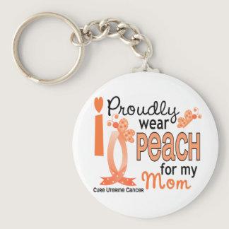 I Wear Peach For My Mom 27 Uterine Cancer Keychain