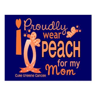 I Wear Peach For My Mom 27 Uterine Cancer Postcard