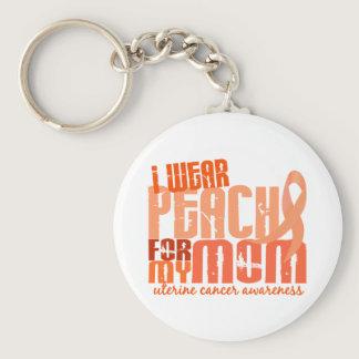 I Wear Peach For My Mom 6.4 Uterine Cancer Keychain
