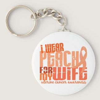 I Wear Peach For My Wife 6.4 Uterine Cancer Keychain