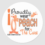 I Wear Peach For The Cure 27 Uterine Cancer Round Sticker