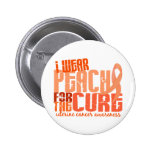 I Wear Peach For The Cure 6.4 Uterine Cancer Button