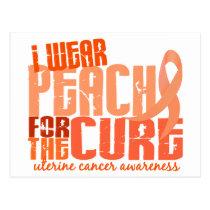 I Wear Peach For The Cure 6.4 Uterine Cancer Postcard