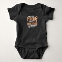 I Wear Peach For Uterine Cancer Awareness Baby Bodysuit