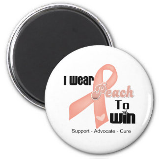 I Wear Peach To Win - Uterine Cancer 2 Inch Round Magnet