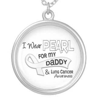 I Wear Pearl For My Daddy 42 Lung Cancer Round Pendant Necklace