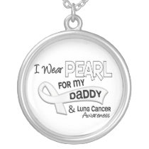 I Wear Pearl For My Daddy 42 Lung Cancer Silver Plated Necklace