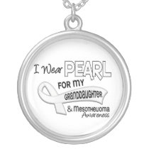 I Wear Pearl For My Granddaughter 42 Mesothelioma Silver Plated Necklace