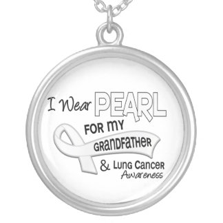 I Wear Pearl For My Grandfather 42 Lung Cancer Round Pendant Necklace