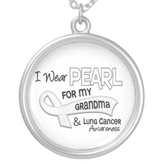 I Wear Pearl For My Grandma 42 Lung Cancer Silver Plated Necklace