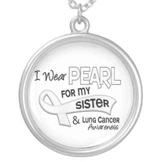 I Wear Pearl For My Sister 42 Lung Cancer Round Pendant Necklace