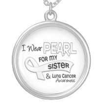 I Wear Pearl For My Sister 42 Lung Cancer Silver Plated Necklace